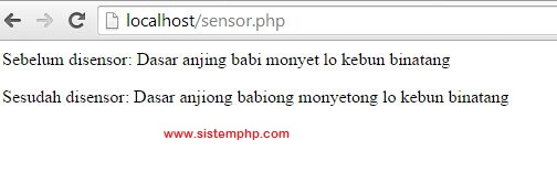 Hasil script php sensor kata