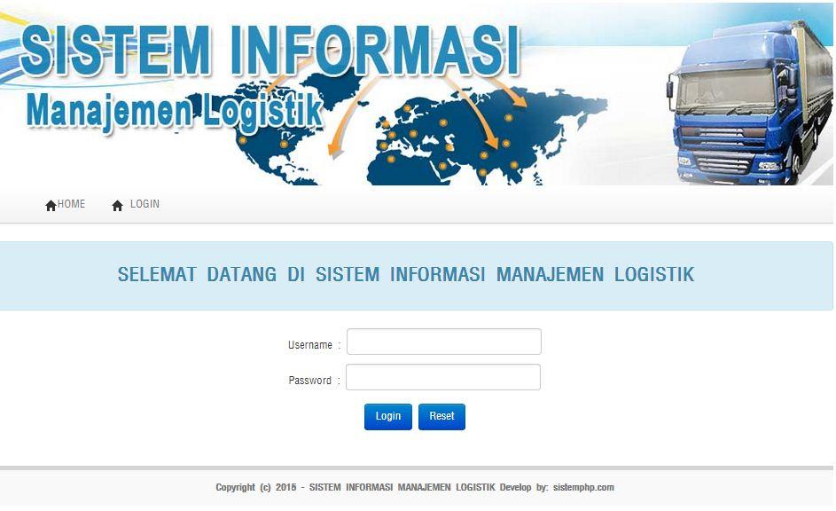 Login Program sistem informasi manajemen logistik