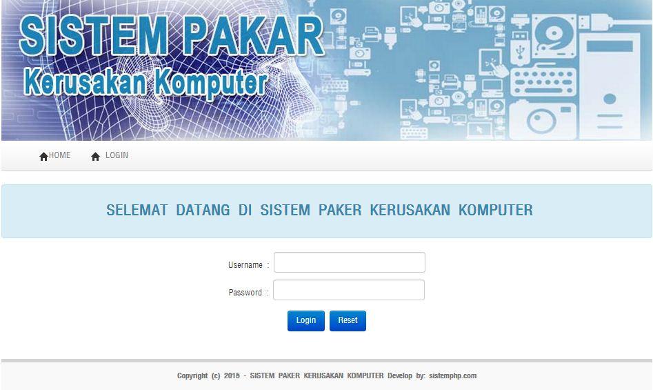 Login sistem pakar kerusakan komputer