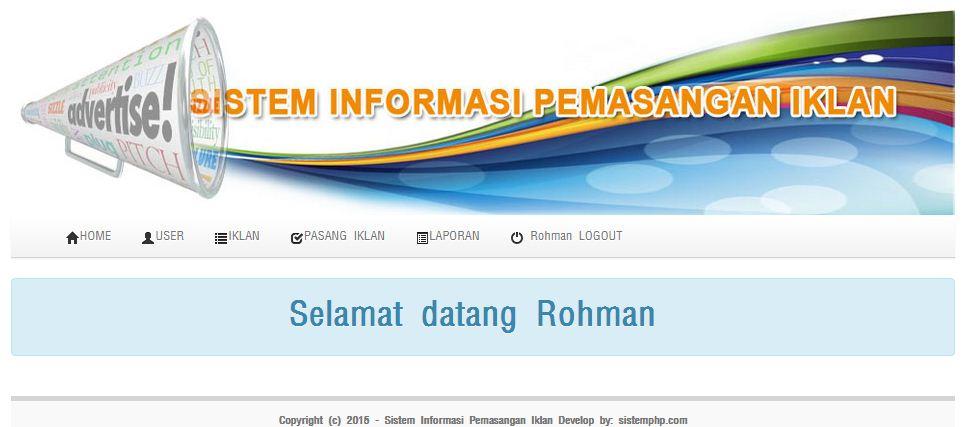 Tampilan Sistem informasi Iklan