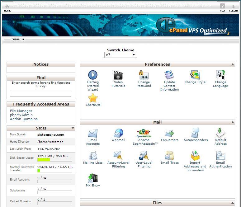 Tampilan hosting server