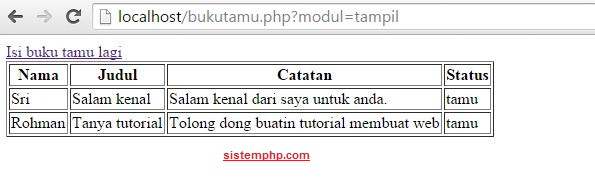 Bukut tamu php mysql