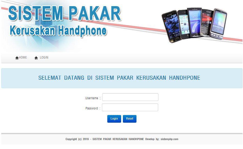 Login Sistem pakar kerusakan handphone