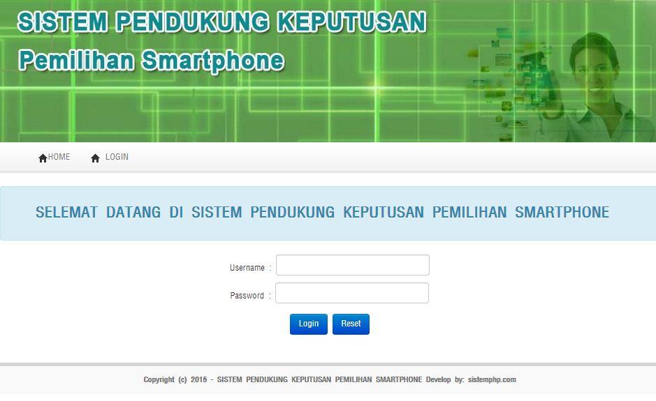 Login sistem pendukung keputusan pemilihan smartphone