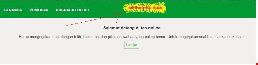 Halaman pertama tes online