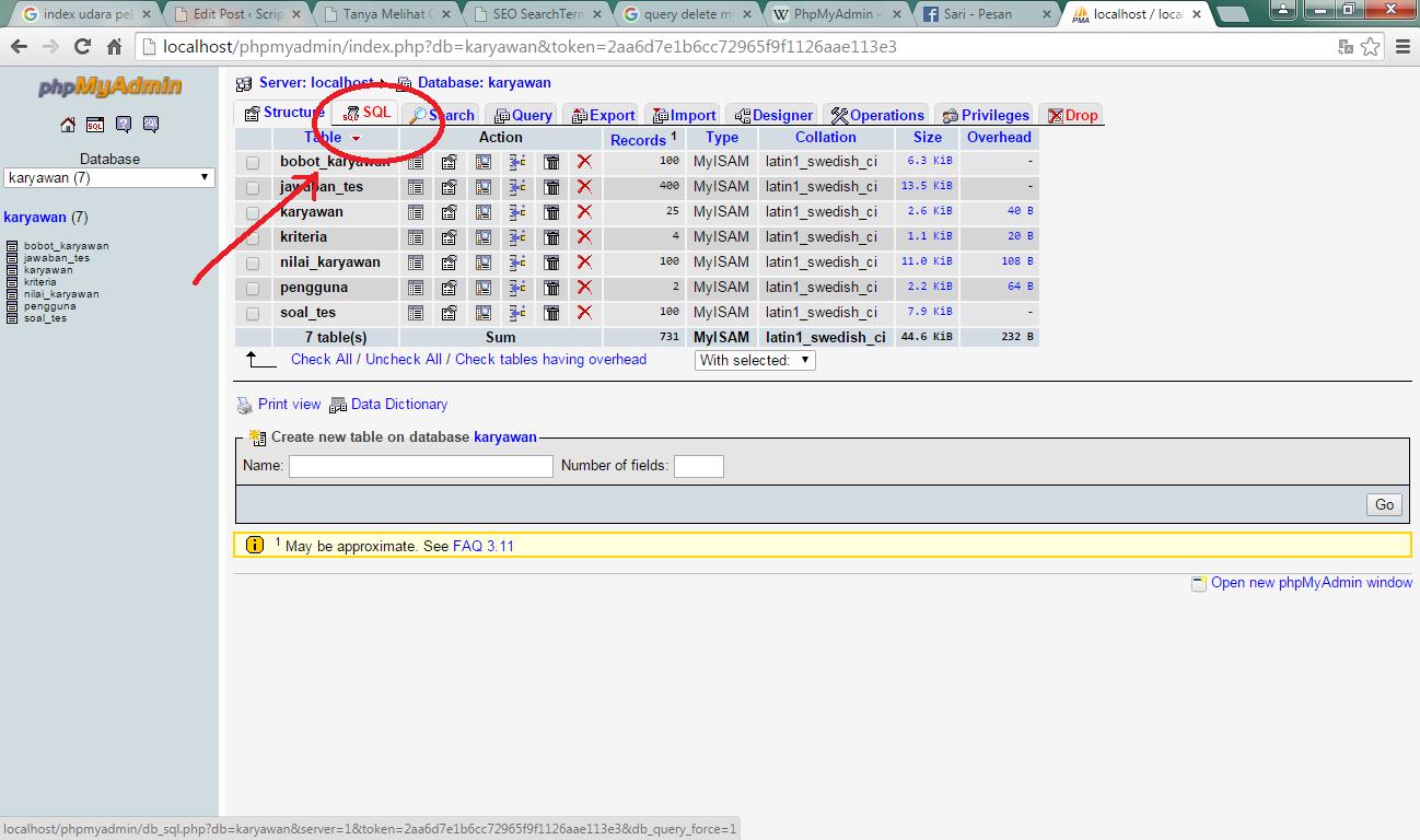 Tamplan query sql phpmyadmin