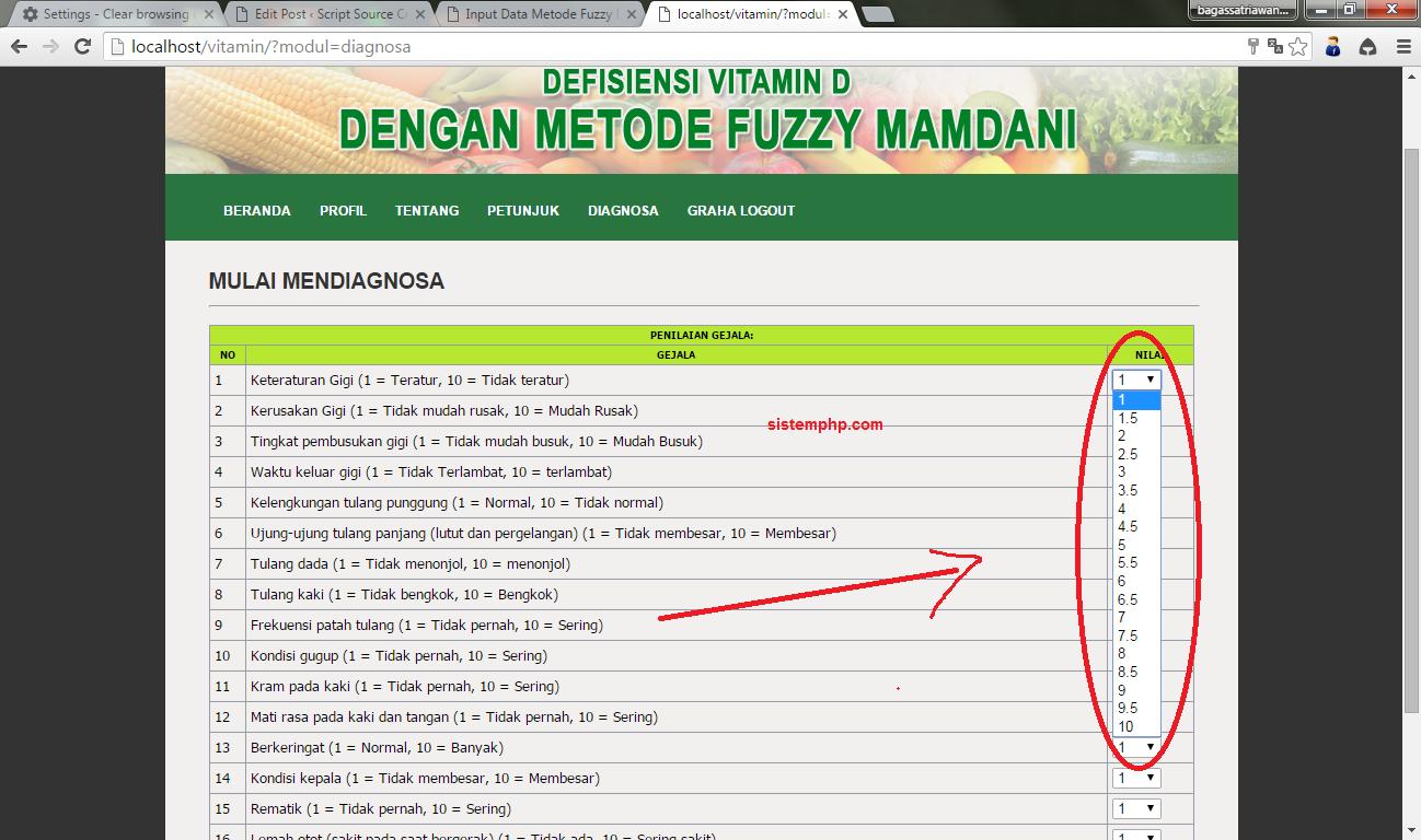 Input data nilai metode fuzzy mamdani