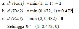 Mendefinisikan nilai ordinat dan bobot vektor (W')