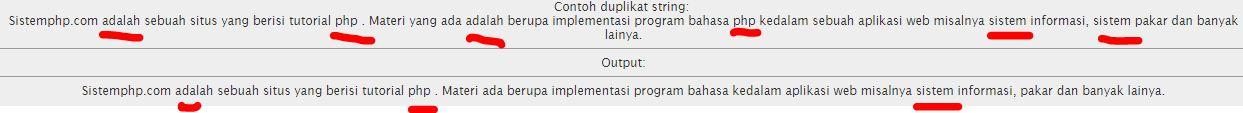 Menghapus Duplikat String