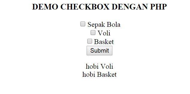 Demo checkbox dengan php