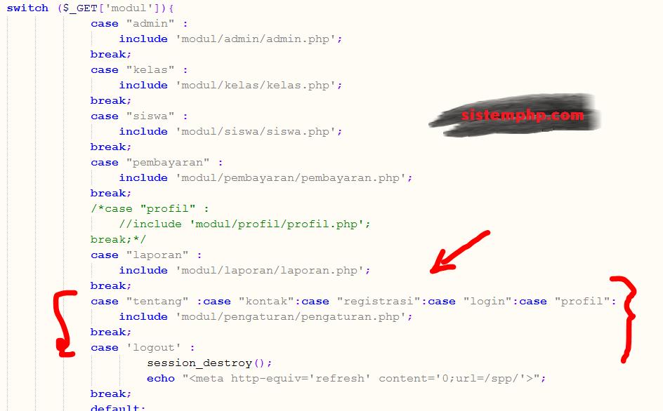 PHP - Banyak Pilihan dalam 1 Case Switch