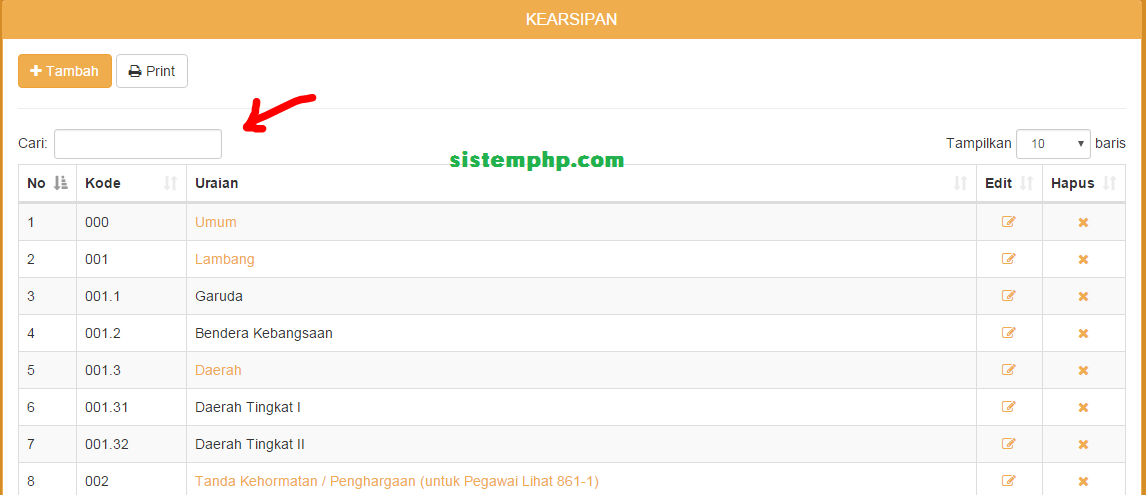 Memindahkan Form Pencarian Tabel - search box kiri entries row kanan