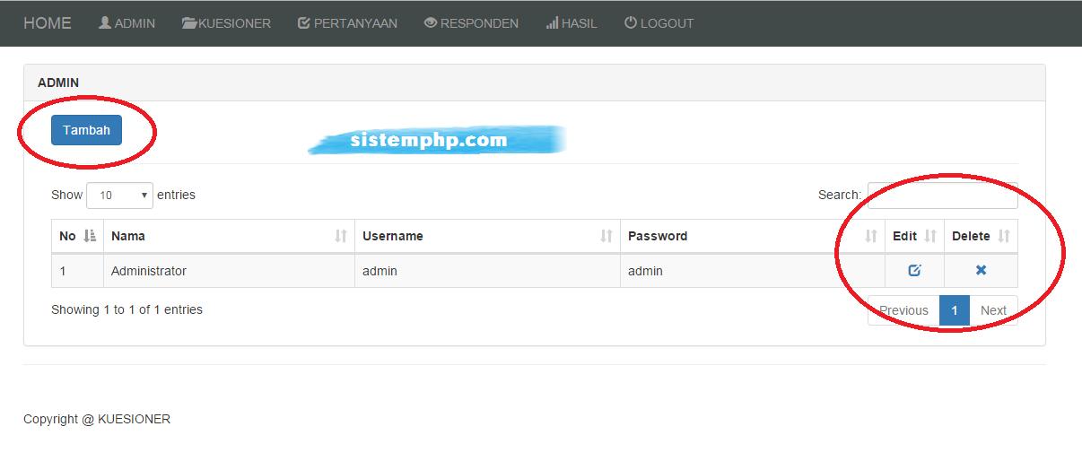 Admin aplikasi kuesioner