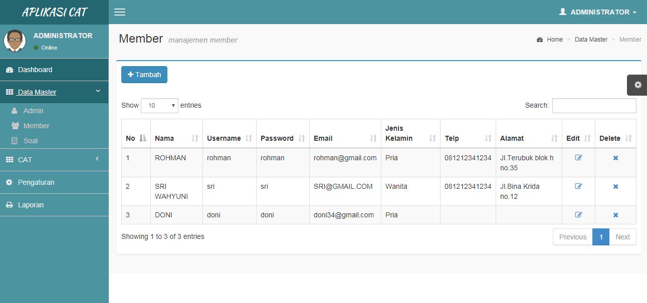 Data Master memer atau peserta pada aplikasi catt
