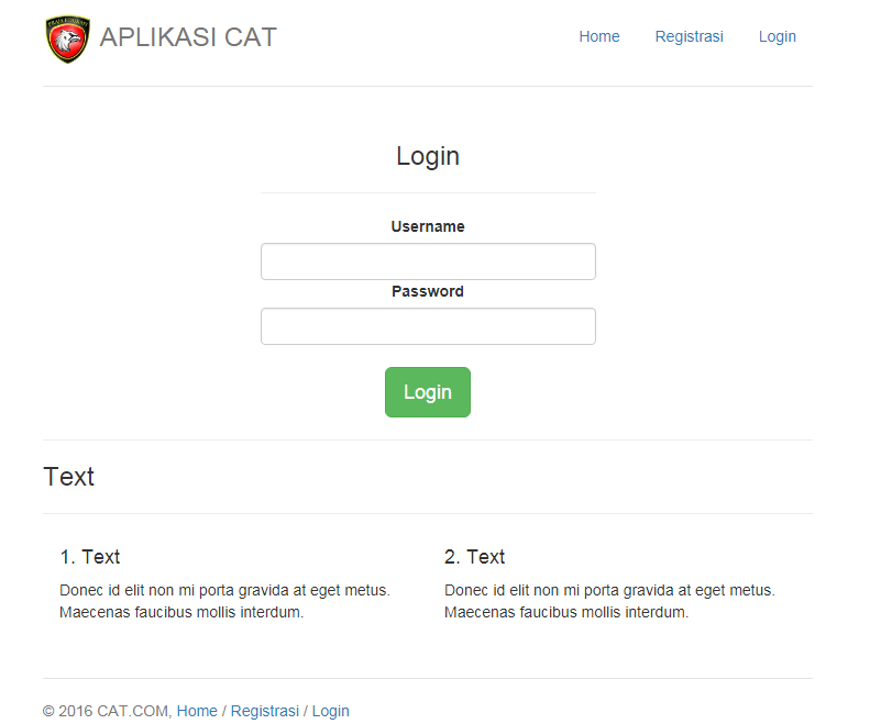 Halaman login cat