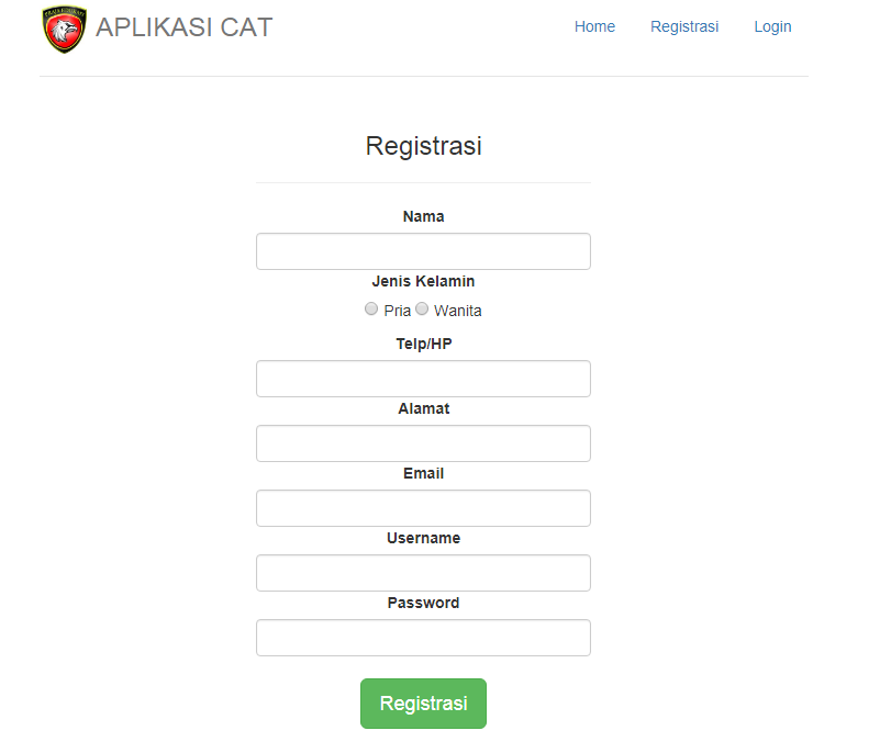 Halaman registrasi cat