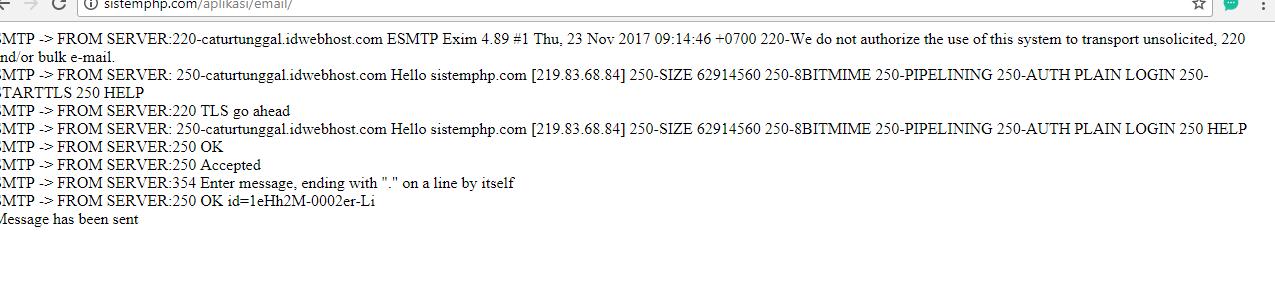 Tampilan berhasil mengirim email