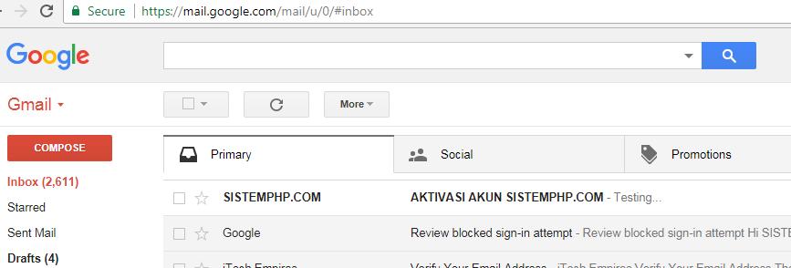 Tampilan kotak masuk pengiriman email berhasil