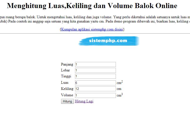 Cara Mudah Menghitung luas,Volume dan Keliling Balok dengan PHP