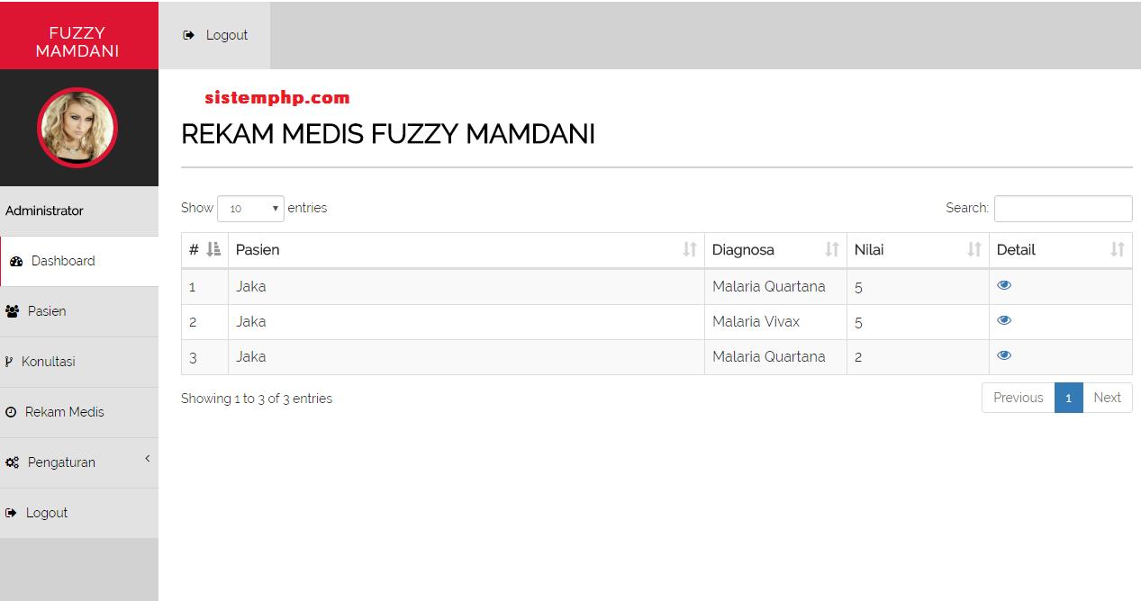 menu hasil konsultasi atau rekam medis sistem pakar fuzzy mamdani