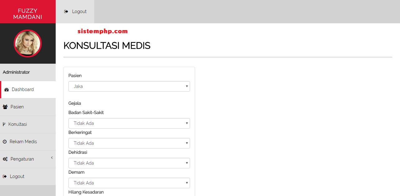 menu konsultasi sistem pakar fuzzy mamdani