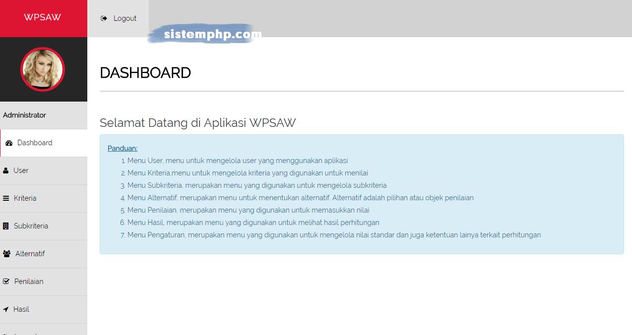 Dasbhoard aplikasi SAW