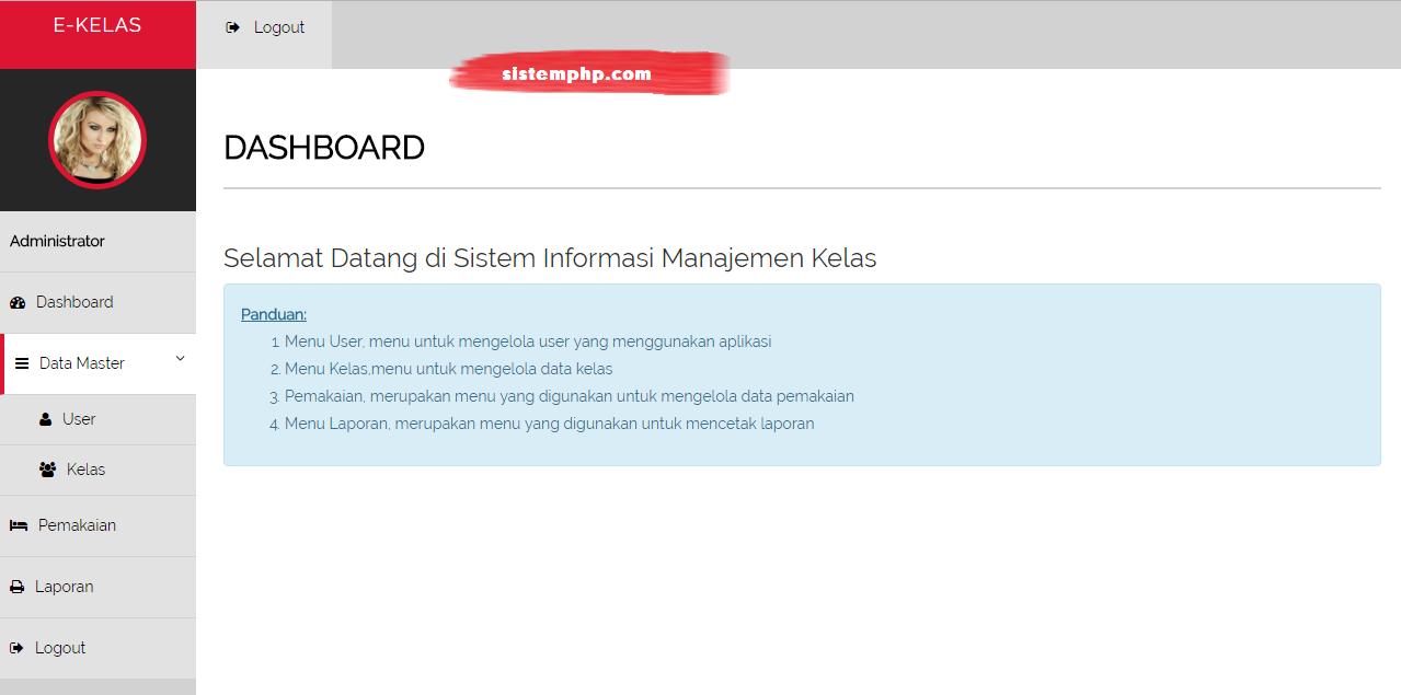 Dashboard sistem informasi ruang kelas