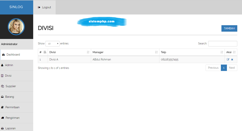 Divisi aplikasi logistik internal perusahaan