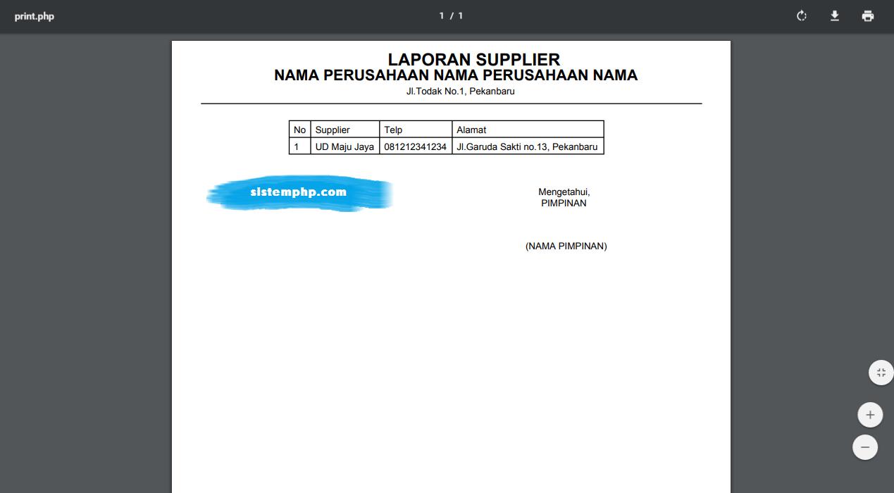 Laporan supplier aplikasi logistik internal perusahaan