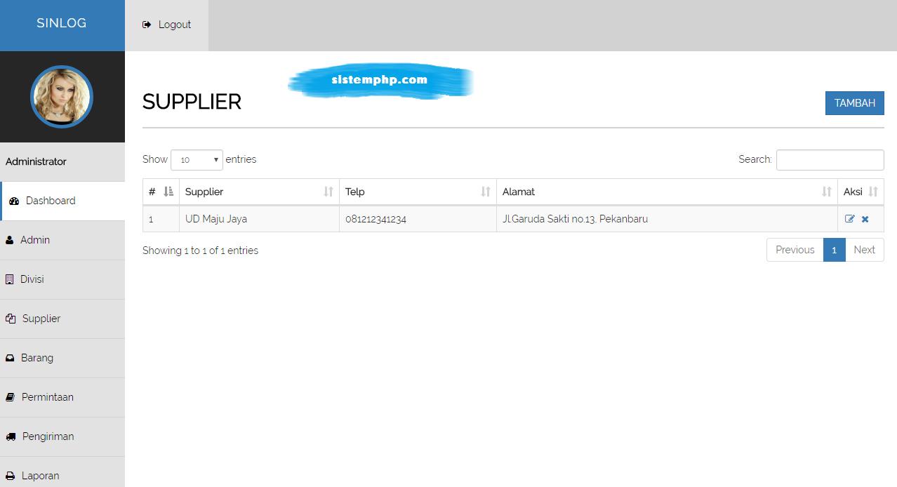 Supplier aplikasi logistik internal perusahaan