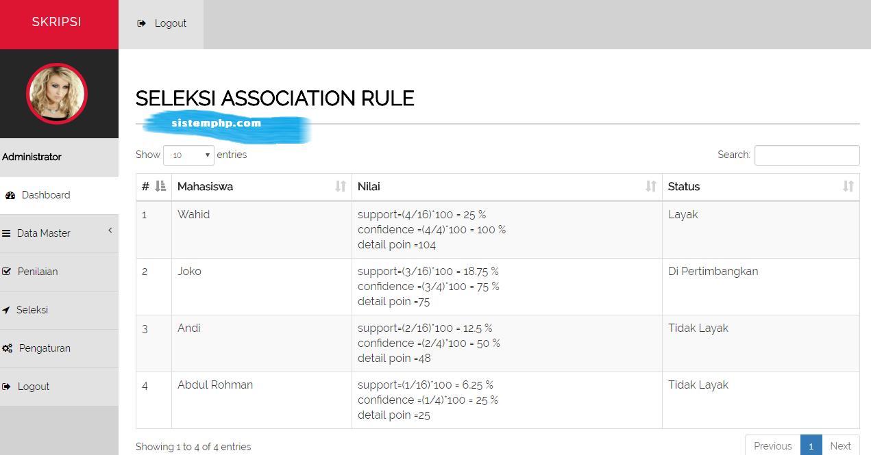 Menu seleksi SPK Seleksi Judul Skripsi dengan Metode Association Rule