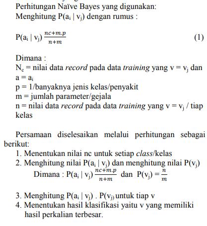 Langkah-Langkah sistem pakar metode Naïve Bayes