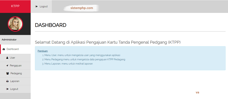 Dashboard aplikasi pendaftaran kartu anggota