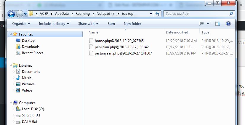 Lokasi file beckup notepad++