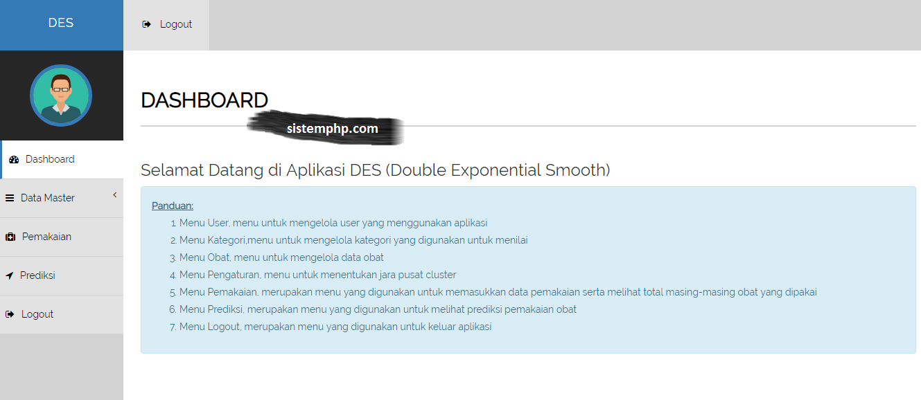 Dashboard Aplikasi Double Exponential Smooth