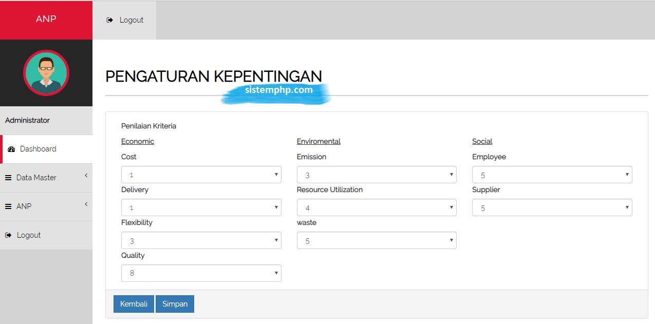 Pengaturan aplikasi ANP