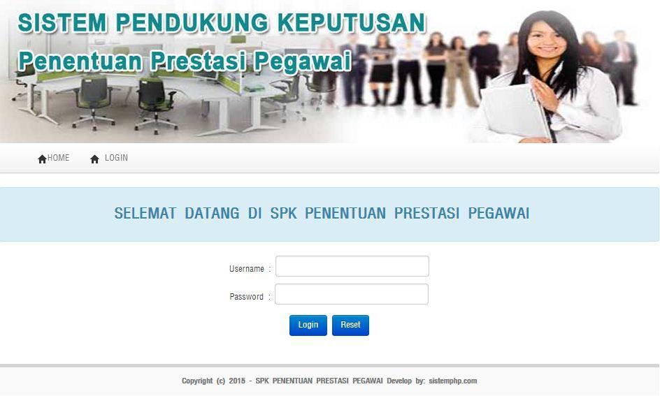 Program SPK Penentuan Prestasi Pegawai