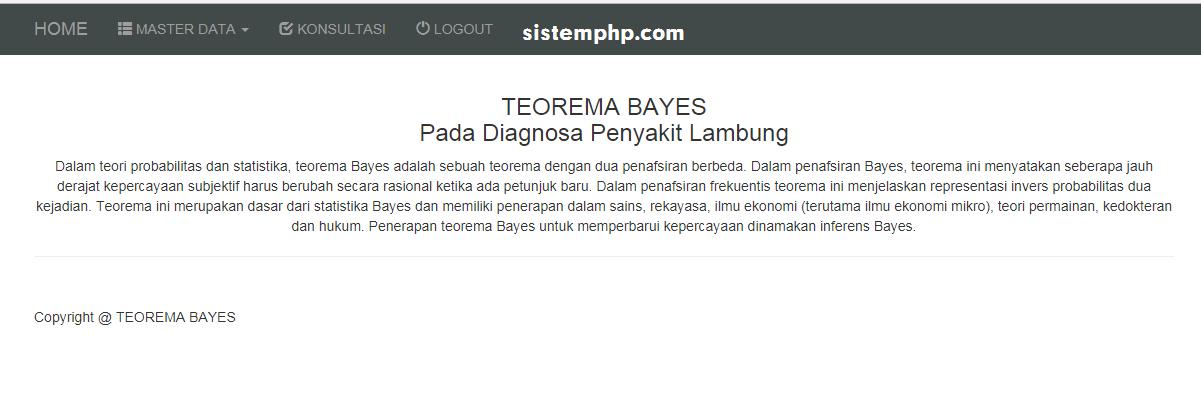 Sistem Pakar – Penyakit Lambung – Metode Teorema Bayes