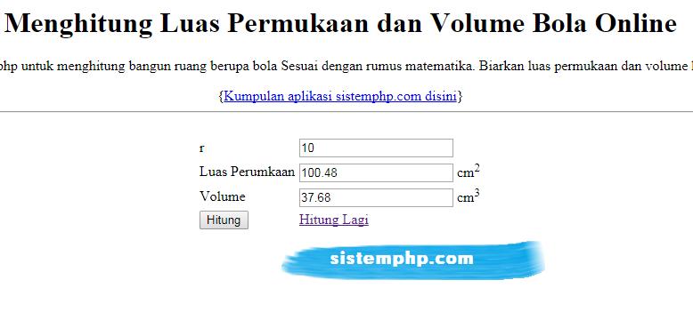 Cara Mudah Menghitung Volume dan Luas Permukaan Bola dengan PHP