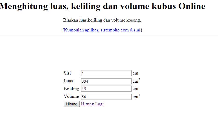 Menghitung Luas, Keliling dan Volume Kubus dengan PHP