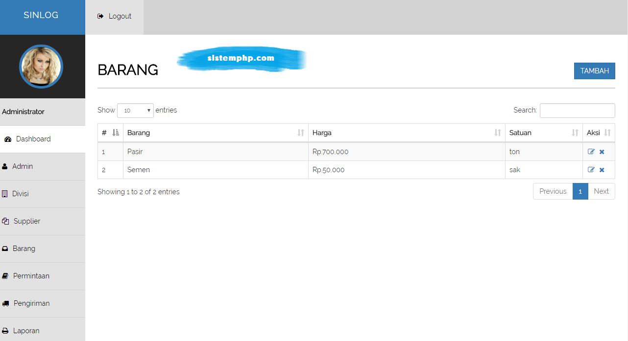 Barang aplikasi logistik internal perusahaan