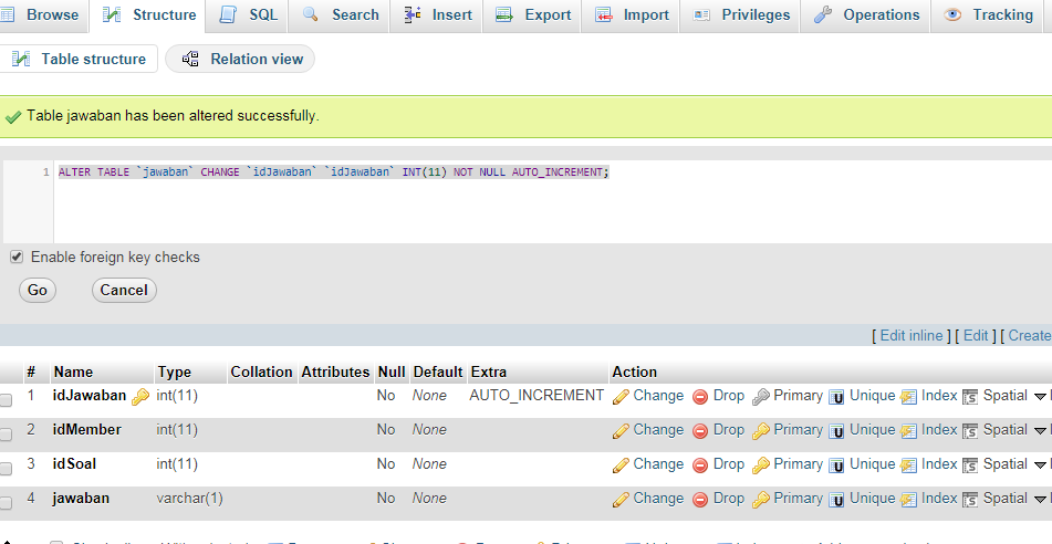 Membuat Auto Increment Pada Tabel Database yang Sudah Terbuat