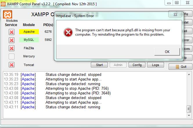Cara mengatasi error php5.dll is missing