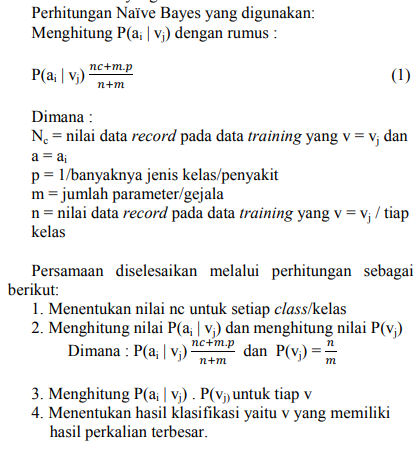 Sistem Pakar Metode Naive Bayes