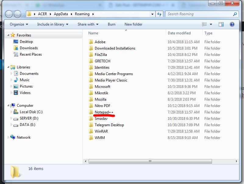 Folder beckup script notepad++