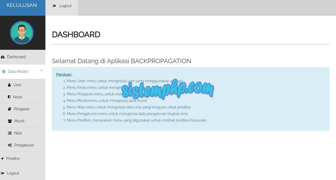 Dashboard Aplikasi Prediksi Kelulusan Metode Backpropagation