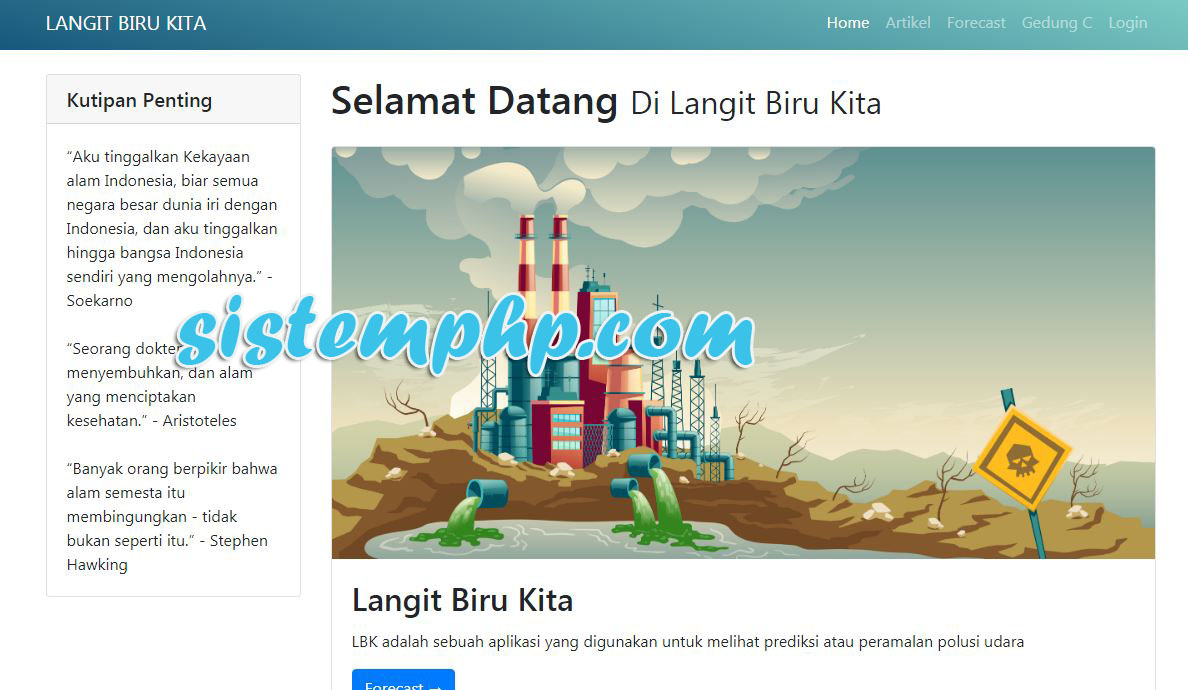 Tampilan publik aplikasi polutan