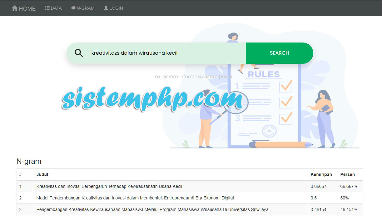 Aplikasi berbasis web php cek plagiarisme metode N-Gram